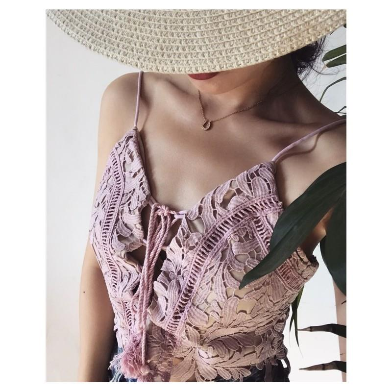 My Stuff, Beach Style Fringe Lace Up Holiday Lace Sleeveless Top Strappy Top Top - Bonny YZOZO Bouti