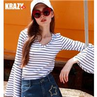 2017 autumn sea lined olive cotton vintage trumpet sleeves v-neck stripe long sleeve top t-shirts -