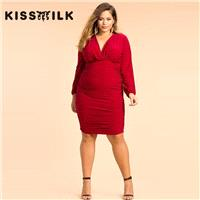Plus Size women's 2017 summer new dress sexy v-neck pleated elegant long-sleeved dress - Bonny YZOZO