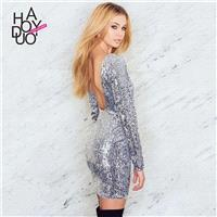 Vogue Sexy Open Back Sequined Fall 9/10 Sleeves Tight Dress - Bonny YZOZO Boutique Store