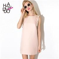 Cute Pearly sleeve sundress back metal zipper and sweet pink sleeveless dress - Bonny YZOZO Boutique