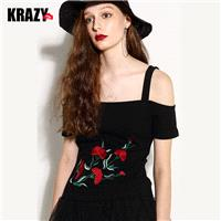 Sexy Embroidery Slimming Off-the-Shoulder Floral Eye Catching Flexible T-shirt - Bonny YZOZO Boutiqu