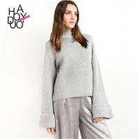 Must-have Vogue Simple Flare Sleeves High Neck One Color Sweater - Bonny YZOZO Boutique Store