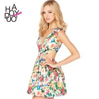 Sweet Printed Hollow Out Zipper Up Floral Summer Dress - Bonny YZOZO Boutique Store