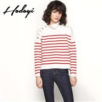 School Style Vogue Sweet Solid Color Slimming Fall Casual 9/10 Sleeves Buttons Stripped Sweater - Bo