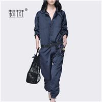 Temperament lazy fall 2017 new plus size dresses women casual pants easy wide leg pants jumpsuit - B