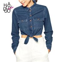 Ladies fall 2017 new classic-bound hem short navel-baring denim long sleeve shirt women - Bonny YZOZ