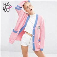 School Style Must-have Sweet Cartoon Alphabet Fall Cardigan Sweater - Bonny YZOZO Boutique Store