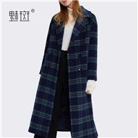 Vogue Slimming Column Lattice Winter Wool Coat Overcoat - Bonny YZOZO Boutique Store