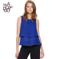 Must-have Office Wear Vogue Split Front Slimming Sleeveless Multi Layered Summer Blouse - Bonny YZOZ