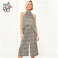 Office Wear Vintage Asymmetrical Printed Sleeveless Summer Jumpsuit - Bonny YZOZO Boutique Store