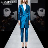 2017 in autumn new style long sleeve deep v neck long satin suit trousers pants suit - Bonny YZOZO B