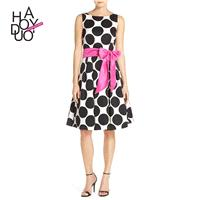 Vogue Bow Sleeveless Polka Dot Summer Belt Dress - Bonny YZOZO Boutique Store