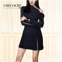 Sexy Split Front Sheath Off-the-Shoulder 9/10 Sleeves Black Formal Wear Dress - Bonny YZOZO Boutique