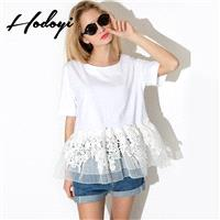 New white lace blouse with short sleeves in summer sweet t slim girl t shirt summer relaxed - Bonny