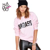 Spring of 2017 new alphabet BADASS style rib sweet college girls Wei Yihui - Bonny YZOZO Boutique St