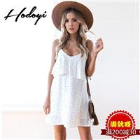 Oversized Vogue Sexy Open Back Frilled V-neck Polka Dot Summer Dress Strappy Top - Bonny YZOZO Bouti