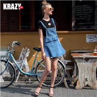Cotton Cowboy Comfortable Mini Frilled Overall Dress - Bonny YZOZO Boutique Store