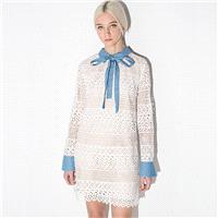 Sweet Fresh Split Front Bow Hollow Out Crochet Slimming Lace Dress - Bonny YZOZO Boutique Store