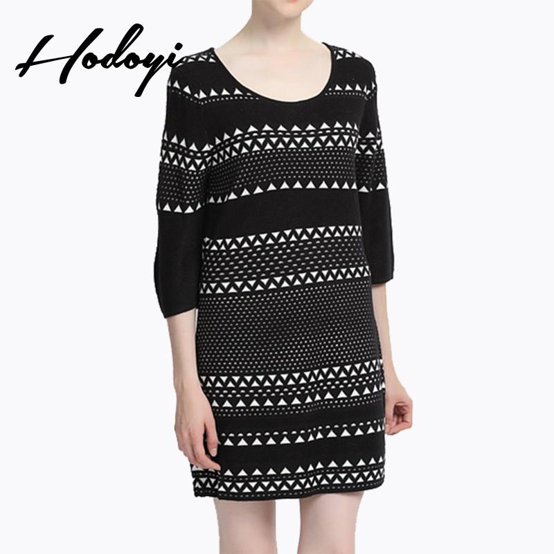 My Stuff, Vogue Solid Color Slimming Scoop Neck 3/4 Sleeves Jersey Spring Stripped Dress - Bonny YZO