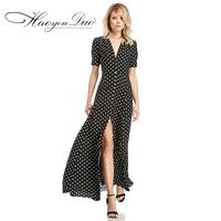 Split V-neck Trail Dress Polka Dot Goddess Short Sleeves Dress - Bonny YZOZO Boutique Store