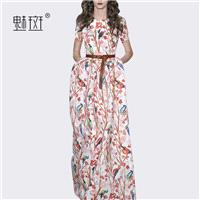 Attractive Printed Curvy Plus Size Trail Dress Summer Casual Short Sleeves Dress - Bonny YZOZO Bouti