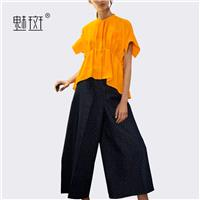 Plus Size loose wide leg pants two piece set 2017 summer New Women's short-sleeved casual fashion su