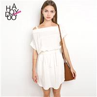 2017 summer dress new fashion oblique shoulder irregular dew shoulder short-sleeved dress - Bonny YZ