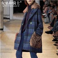 Fur Collar Double Breasted Wool Lattice Wool Coat Overcoat - Bonny YZOZO Boutique Store
