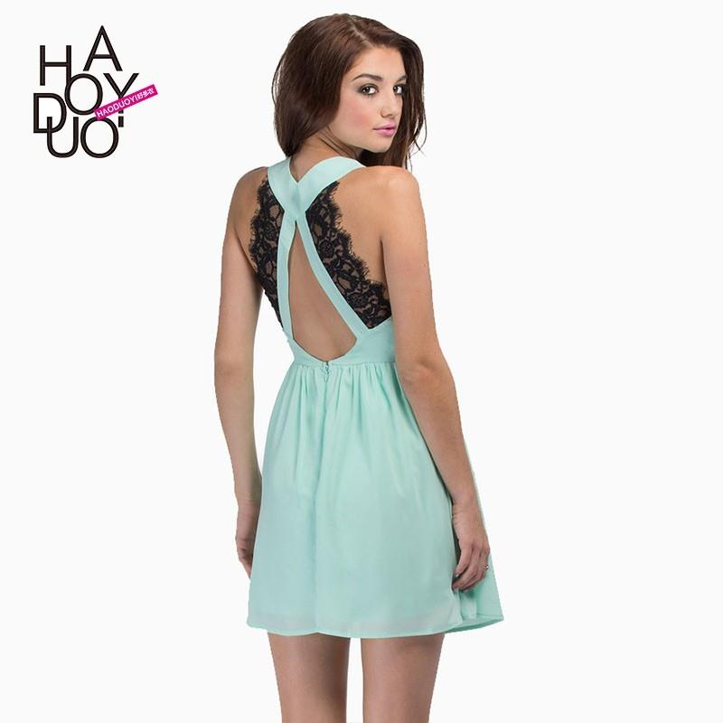 My Stuff, Split Front Low Cut Sleeveless Chiffon Eyelash Lace Zipper Up Dress - Bonny YZOZO Boutique