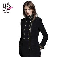 Wind often exquisite Golden epaulet uniforms long zipper pockets and thick overcoats - Bonny YZOZO B