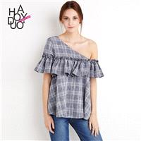 Vogue Sweet Frilled Off-the-Shoulder Accessories Lattice Summer Blouse - Bonny YZOZO Boutique Store