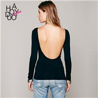 Vogue Sexy Simple Open Back One Color Spring 9/10 Sleeves T-shirt Basics - Bonny YZOZO Boutique Stor