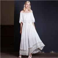 New sexy summer boat neck dress elegant chiffon lace stitching do not rule long skirt 9406 - Bonny Y