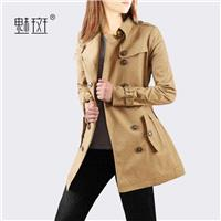2017 in the autumn new style fashion cultivate one's morality recreational long trench coat women's