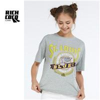 Must-have Casual Oversized Printed Scoop Neck Short Sleeves Note Grey Trendy Summer T-shirt Top - Bo