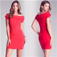 Vogue Sexy Slimming Sheath Bateau Off-the-Shoulder Edgy Short Sleeves Formal Wear Dress - Bonny YZOZ