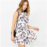 Sweet Fresh Printed High Cut Pleated High Neck Floral Dress Sleeveless Top - Bonny YZOZO Boutique St