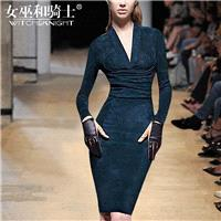 Vogue Attractive Slimming V-neck High Waisted It Girl Fall 9/10 Sleeves Midi Dress Dress - Bonny YZO