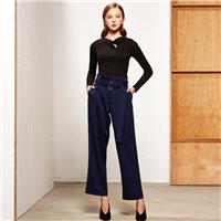Autumn new vintage flower side waist casual straight leg pants, wide leg pants with ring belt 8036 -