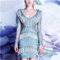 2017 autumn new style sexy deep v neck short sleeved flowing Solel silk dress woman - Bonny YZOZO Bo