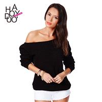 Must-have Oversized Sexy One-Shoulder Off-the-Shoulder One Color Knitted Sweater Sweater - Bonny YZO