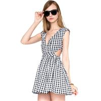 Summer sweet sexy deep v-neck cut black and white Plaid slim waist a-dresses women - Bonny YZOZO Bou
