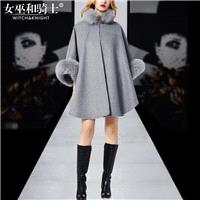 Oversized Vogue Batwing Sleeves Fur Collar Wool Puncho Coat Overcoat Coat - Bonny YZOZO Boutique Sto