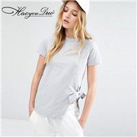 Must-have Street Style Simple Split Asymmetrical Tie Casual T-shirt - Bonny YZOZO Boutique Store