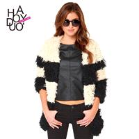 Fall and winter color stitching without a leading slash Pocket clasp closure fur coats jackets - Bon