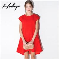 Oversized Vogue Sweet Attractive Slimming Scoop Neck One Color Summer Short Sleeves Dress Skirt - Bo