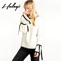 School Style Oversized Vogue Sweet Solid Color Flare Sleeves High Neck Fall Tie Sweater - Bonny YZOZ