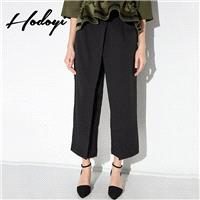 Vogue Split Front High Waisted One Color Summer Capris Wide Leg Pant Suit - Bonny YZOZO Boutique Sto