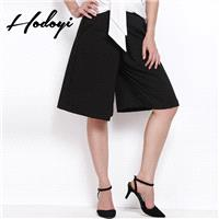 2017 new stylish shorts in winter woman fall/winter wear high waist trousers wide leg pants black pa